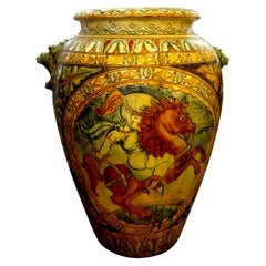 Large Italian Glazed Terracotta Urn with Stylized Horse