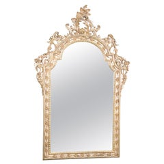 Large Italian Gold Leaf Gilded Italian Rococo Wall Mirror