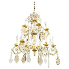 Large Italian Gold Leaf Metal and Crystal Deco 12-Lights Chandelier