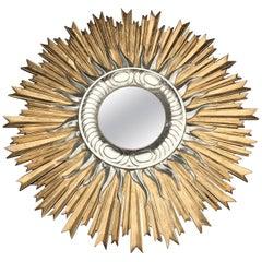 Large Italian Hand Carved Sunburst Mirror