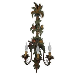 Large Italian Three Arm Hand Carved Wooden Sconce or Wall Light