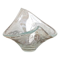 Large Italian Hand Made Clear and White Art Glass Bowl circa 1960s