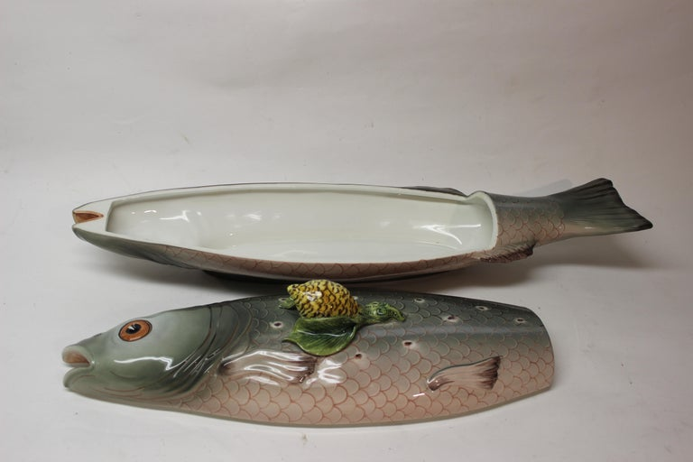 20th Century Large Italian Hand Painted Tiffany's Ceramic Trout Tureen For Sale