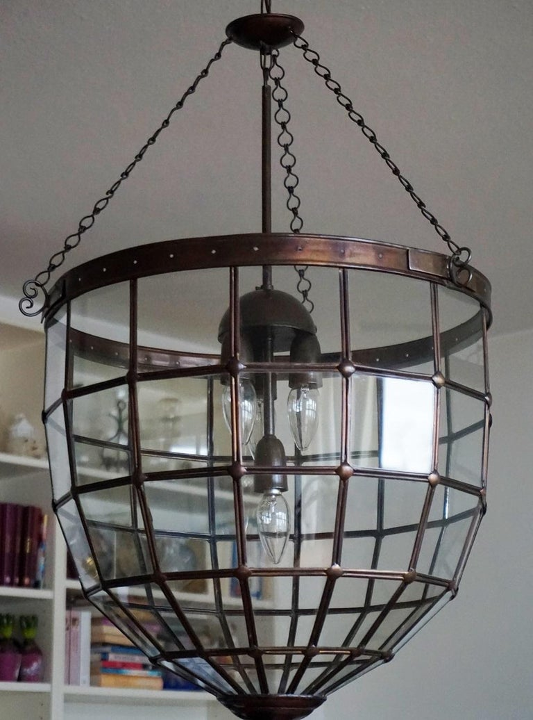 Large Italian Handcrafted Geometric Clear Glass Copper Four-Light Lantern, 1930s For Sale 3