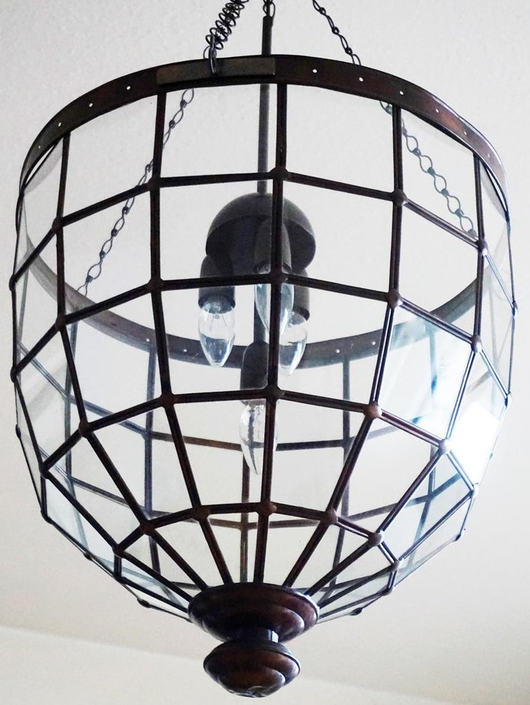Large Italian Handcrafted Geometric Clear Glass Copper Four-Light Lantern, 1930s For Sale 4