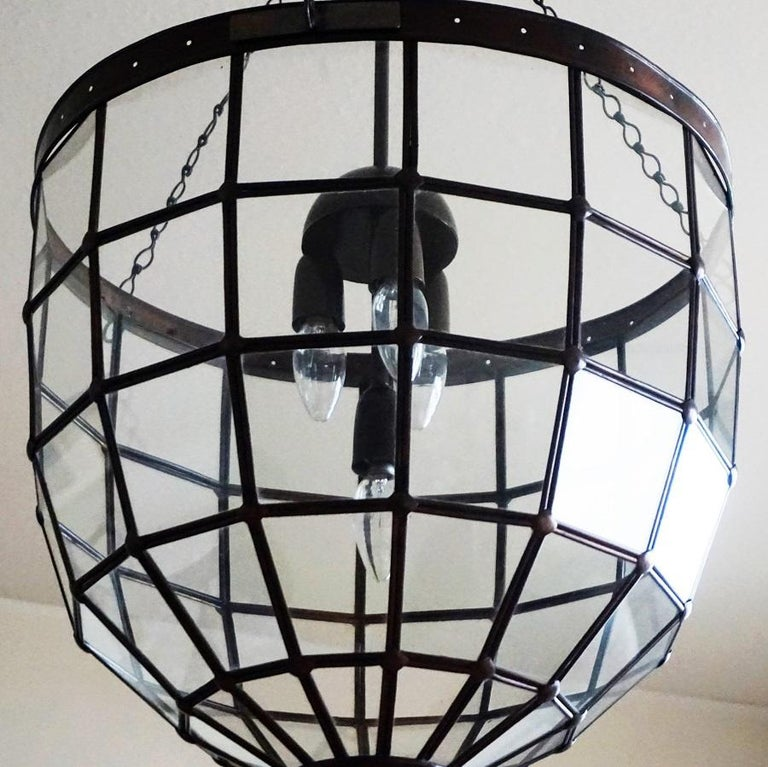 Large Italian Handcrafted Geometric Clear Glass Copper Four-Light Lantern, 1930s For Sale 5