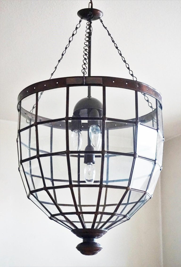 Art Deco Large Italian Handcrafted Geometric Clear Glass Copper Four-Light Lantern, 1930s For Sale