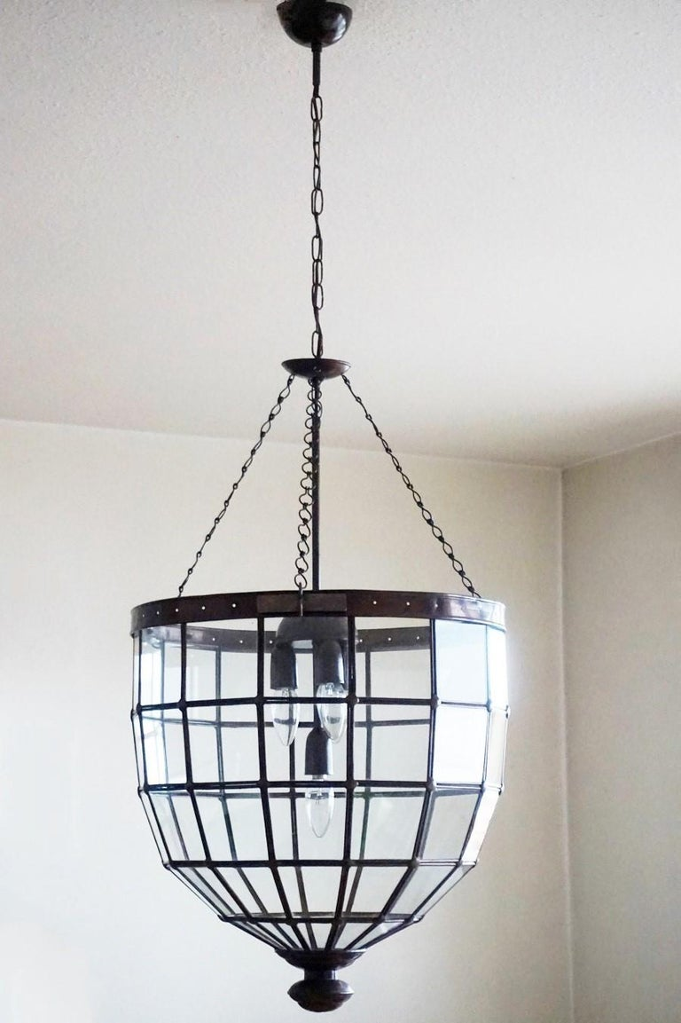 Painted Large Italian Handcrafted Geometric Clear Glass Copper Four-Light Lantern, 1930s For Sale