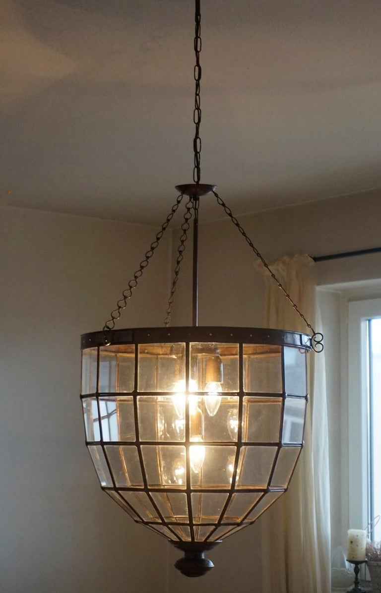 Large Italian Handcrafted Geometric Clear Glass Copper Four-Light Lantern, 1930s In Good Condition For Sale In Frankfurt am Main, DE