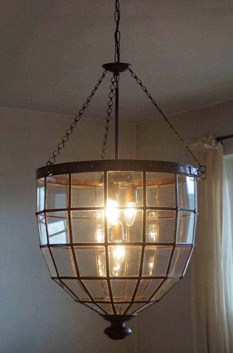 20th Century Large Italian Handcrafted Geometric Clear Glass Copper Four-Light Lantern, 1930s For Sale