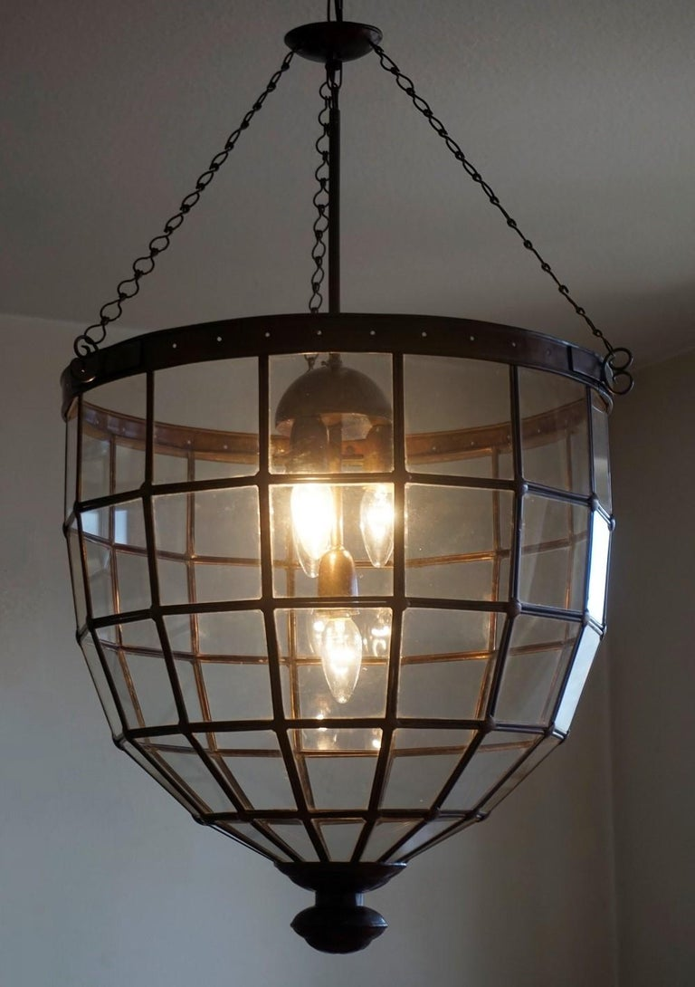 Brass Large Italian Handcrafted Geometric Clear Glass Copper Four-Light Lantern, 1930s For Sale