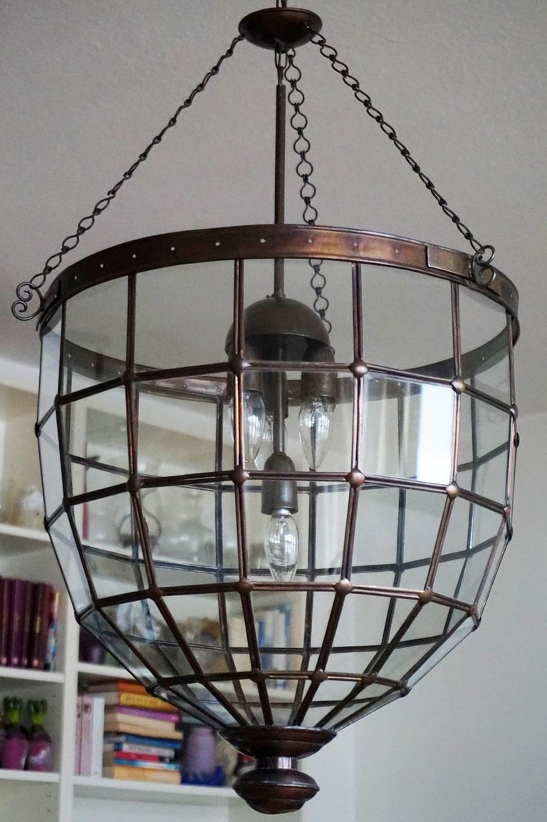 Large Italian Handcrafted Geometric Clear Glass Copper Four-Light Lantern, 1930s For Sale 1