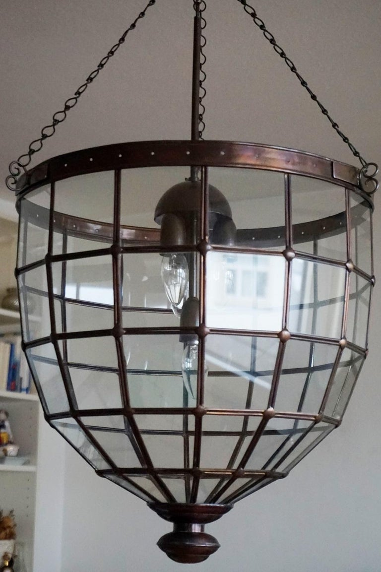 Large Italian Handcrafted Geometric Clear Glass Copper Four-Light Lantern, 1930s For Sale 2