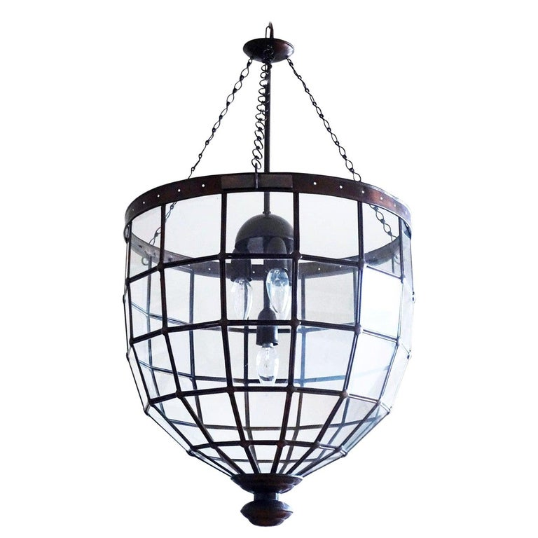Large Italian Handcrafted Geometric Clear Glass Copper Four-Light Lantern, 1930s For Sale