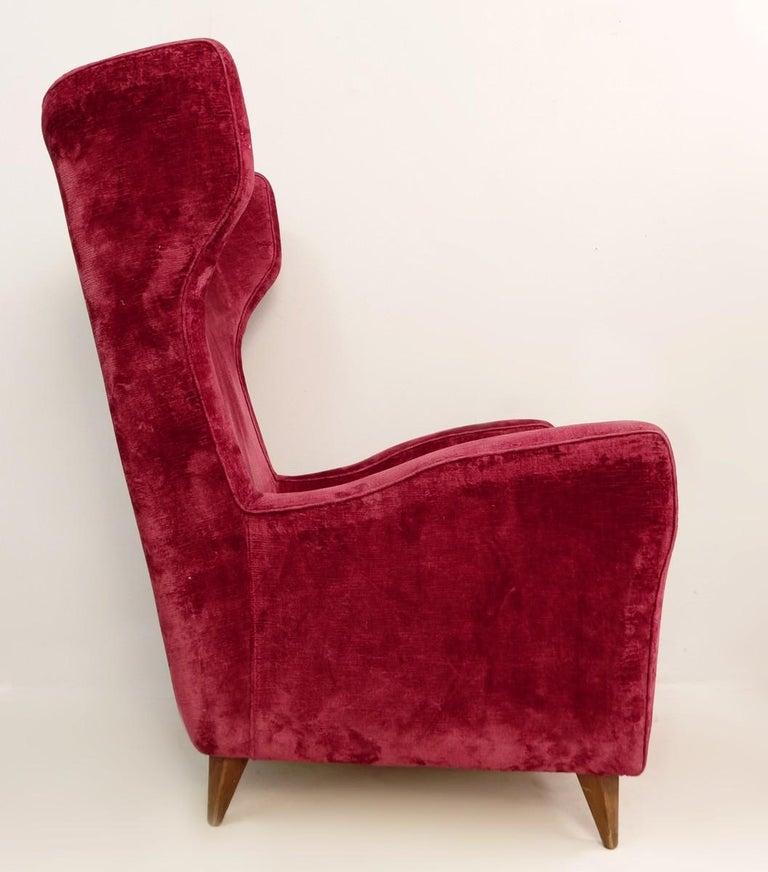 Large Italian high back red velvet armchair, 1950s.