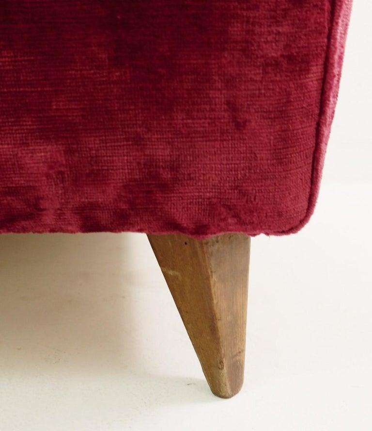 Mid-Century Modern Large Italian High Back Red Velvet Armchair, 1950s For Sale