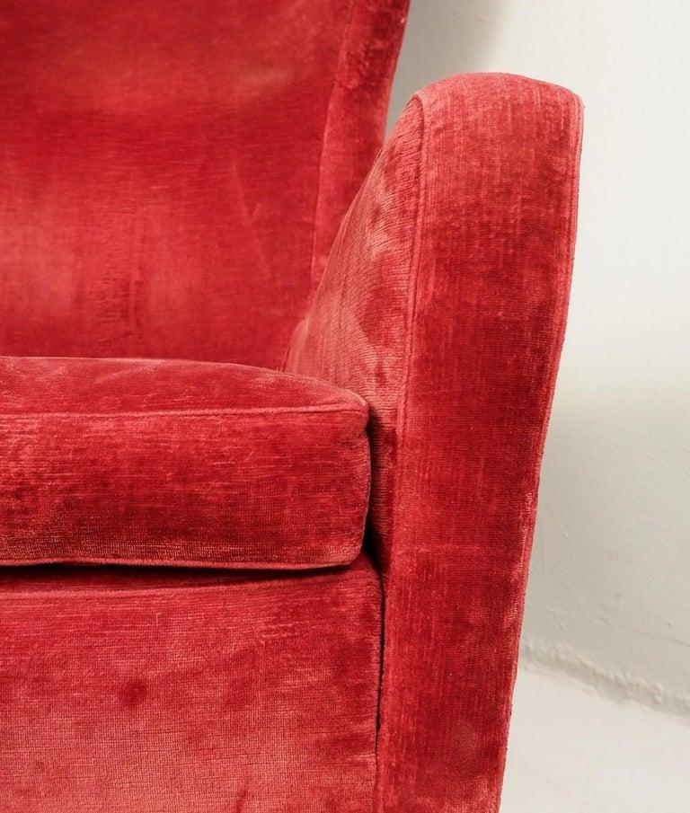Mid-20th Century Large Italian High Back Red Velvet Armchair, 1950s For Sale