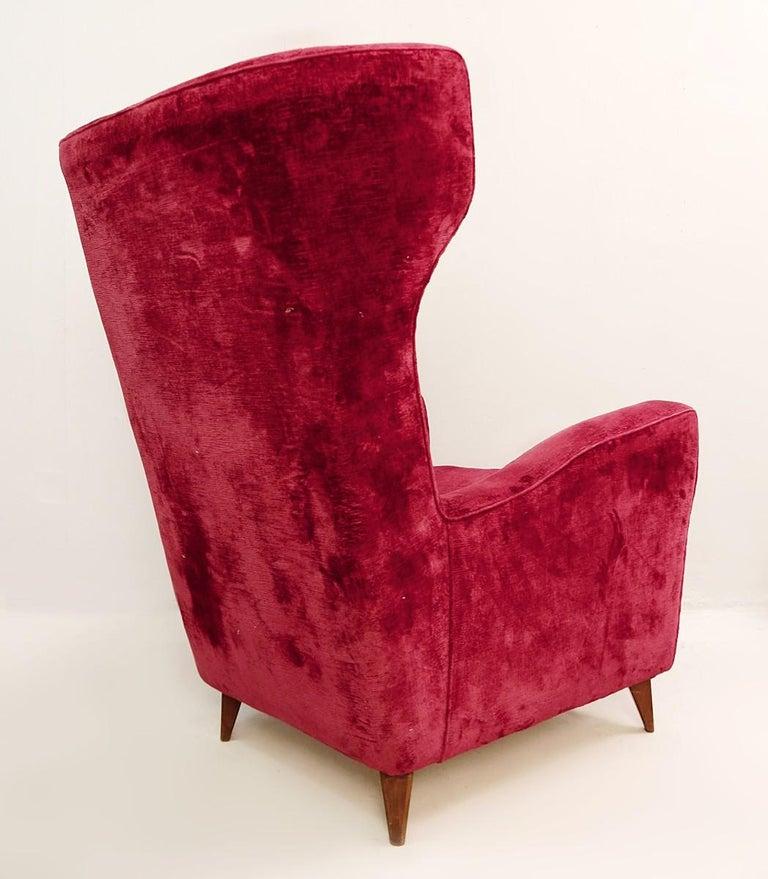 Brass Large Italian High Back Red Velvet Armchair, 1950s For Sale