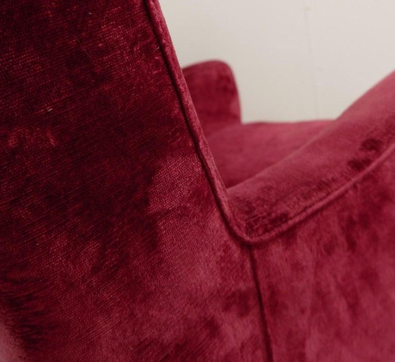 Large Italian High Back Red Velvet Armchair, 1950s For Sale 1