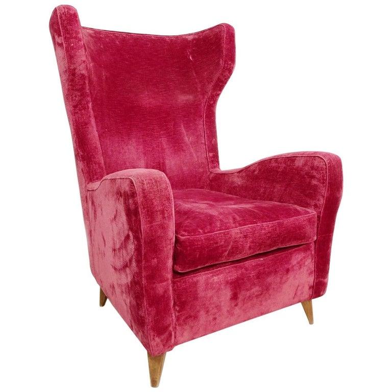 Large Italian High Back Red Velvet Armchair, 1950s For Sale
