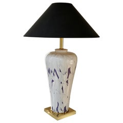 Large Italian Hollywood Regency Style Brass and Ceramic Table Lamp, 1970s