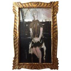 Large Italian Lady Portrait Black Background Signed Renato Borsato Dated 1960