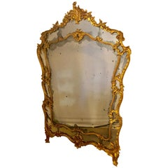 Large Italian Louis XV Style Giltwood Wall Console or Floor Mirror