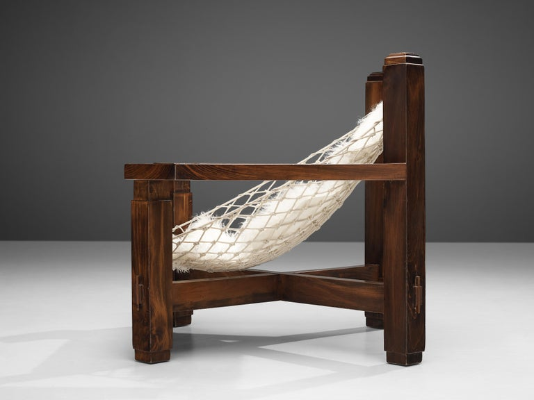 Large Italian Lounge Chair in Stained Pine and Rope Seating For Sale 5