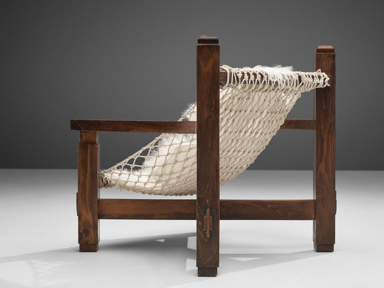 Large Italian Lounge Chair in Stained Pine and Rope Seating For Sale 7