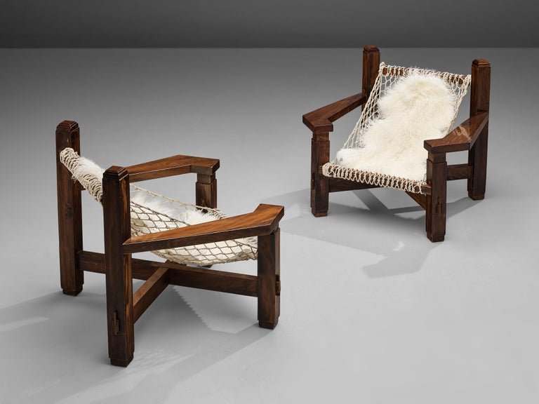Large Italian Lounge Chair in Stained Pine and Rope Seating For Sale 11