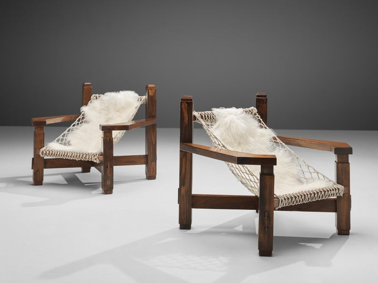 Monumental lounge chair, pine, rope, Italy, 1970s
