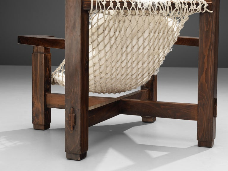 Large Italian Lounge Chair in Stained Pine and Rope Seating For Sale 1