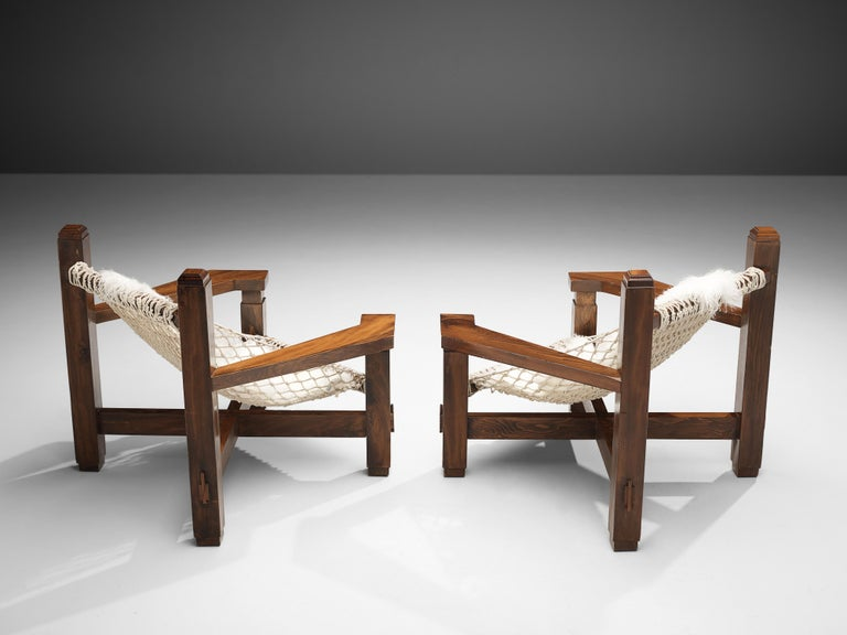 Large Italian Lounge Chair in Stained Pine and Rope Seating For Sale 3