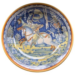 Large Italian Majolica Charger, Riders on Horseback, Signed Verso