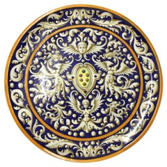 Large Italian Majolica Classically Hand Painted Pottery Charger