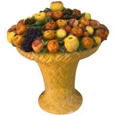 Large Italian Majolica Cornucopia Fruit Basket