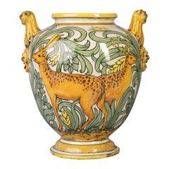 Large Italian Majolica Two-Handled Vase, circa 1900