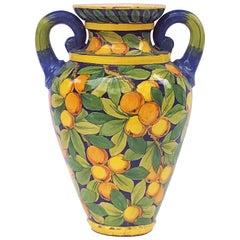 Large Italian Majolica Vase with Lemons and Oranges Design 'H 25'