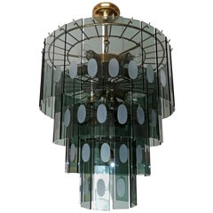Large Italian Max Ingrand Fontana Art Style Smoked Glass 13-Light Chandelier