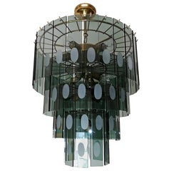 Large Italian Max Ingrand Fontana Art Style Smoked Glass 13-Light Chandelier