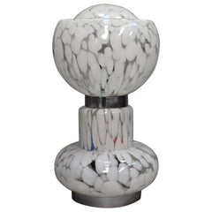 Large Italian Mazzega Table Lamp in Murano Glass and Chrome, circa 1970
