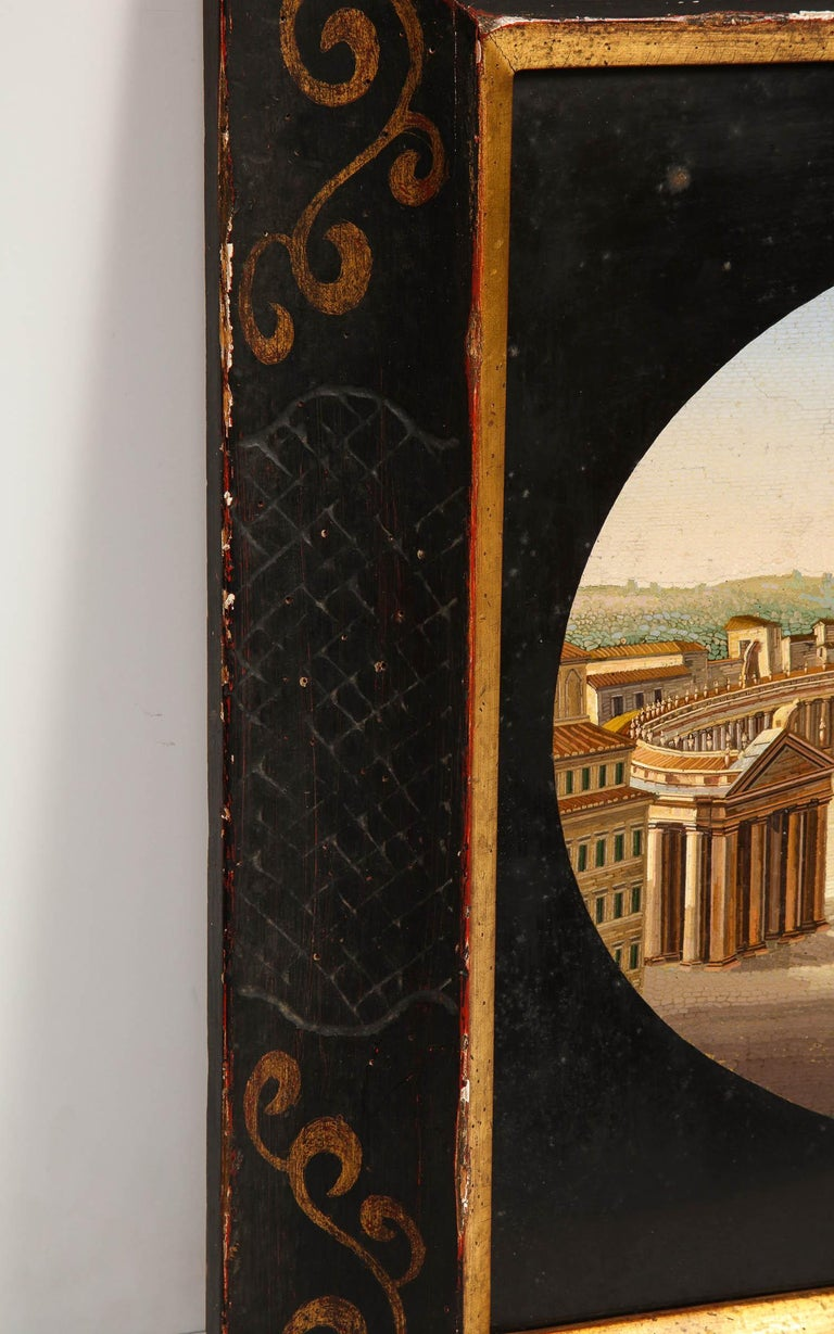 Large Italian Micromosaic Plaque of St. Peter's Basilica, Rome, circa 1860 For Sale 6