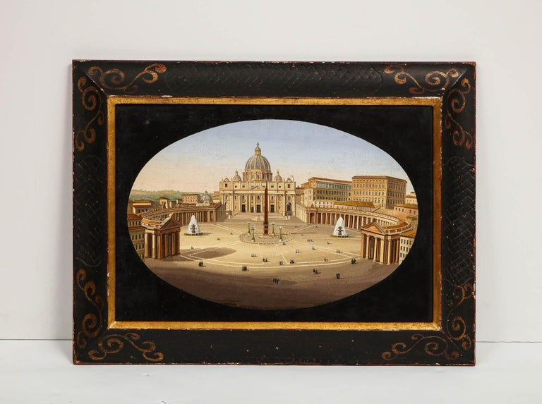 Large Italian Micromosaic plaque of St. Peter's Basilica, Rome, circa 1860, in original frame.  Possibly made by the Vatican Mosaic Studio.  Very dine quality and detail. Very good condition. Normal wear consistent with age and use.  Measures: