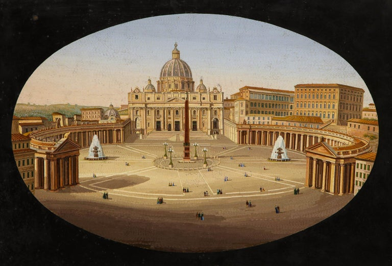 Grand Tour Large Italian Micromosaic Plaque of St. Peter's Basilica, Rome, circa 1860 For Sale