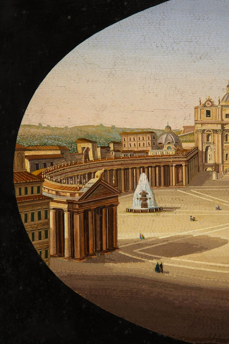 Large Italian Micromosaic Plaque of St. Peter's Basilica, Rome, circa 1860 In Good Condition For Sale In New York, NY