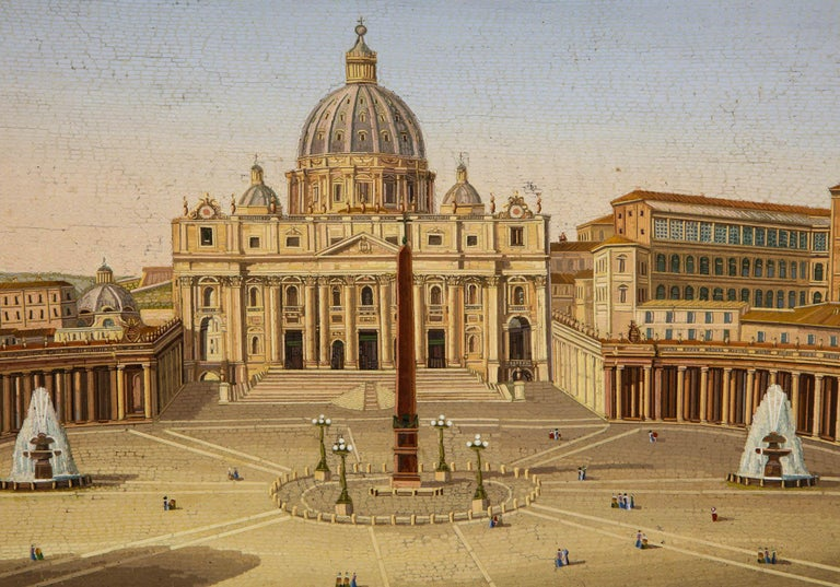 19th Century Large Italian Micromosaic Plaque of St. Peter's Basilica, Rome, circa 1860 For Sale