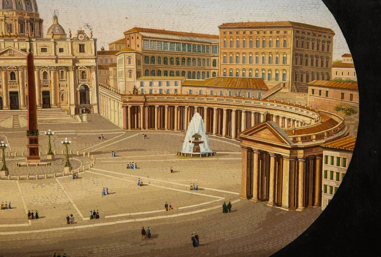 Large Italian Micromosaic Plaque of St. Peter's Basilica, Rome, circa 1860 For Sale 1