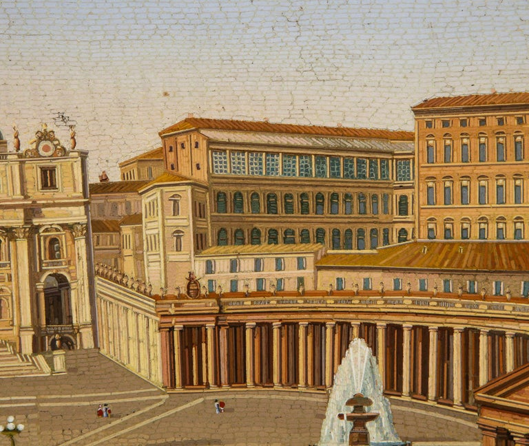 Large Italian Micromosaic Plaque of St. Peter's Basilica, Rome, circa 1860 For Sale 2