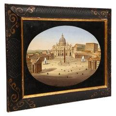 Large Italian Micromosaic Plaque of St. Peter's Basilica, Rome, circa 1860