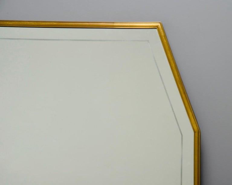 Large Italian Mid Century Brass Framed Mirror For Sale 6